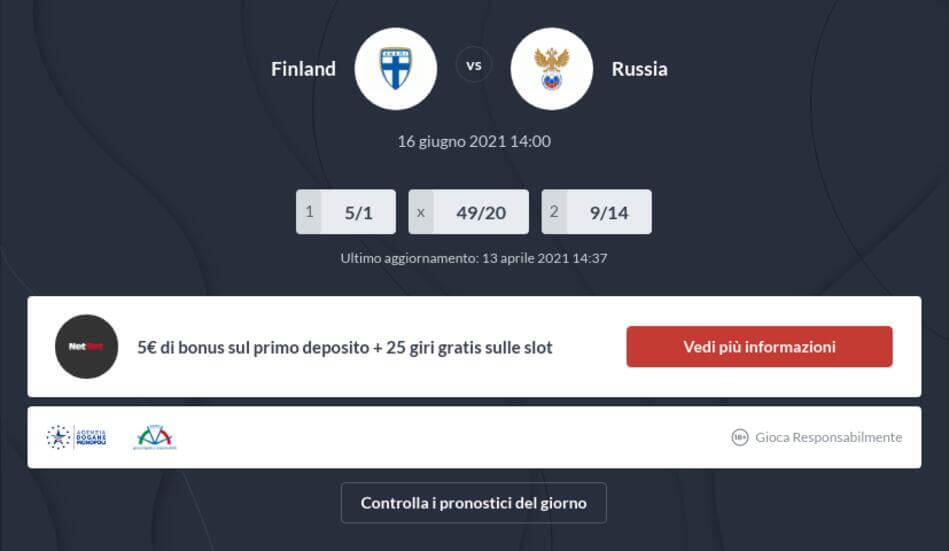 Pronostico Finlandia - Russia risultato esatto
