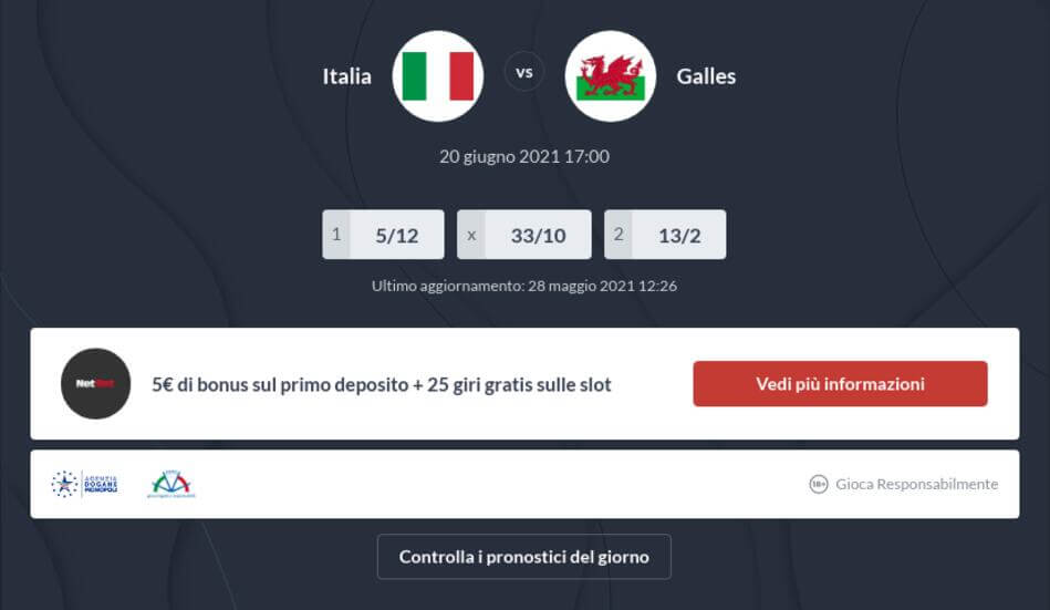 Pronostico Italia - Galles risultato esatto