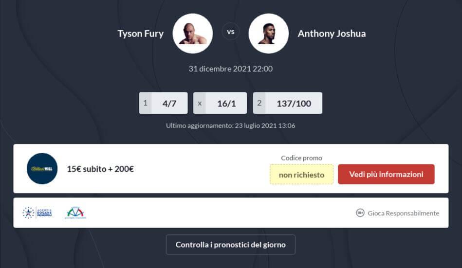 Pronostico Fury vs Joshua
